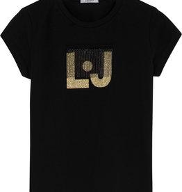 Liu Jo t-shirt zwart logo gold