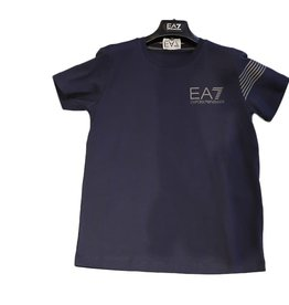 EA7 T-shirt blauw grijze strepen
