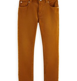 Scotch&Soda stretch rib broek oranje rood