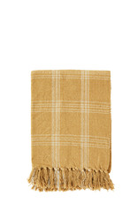 Madam Stoltz Madam Stoltz Checked Woven Throw Yellow