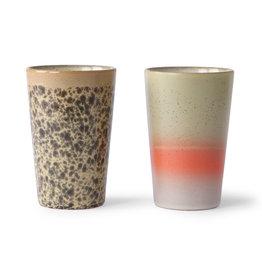HKliving HKliving 70's Ceramics Tea Mugs (set van 2)