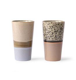 HKliving HKliving 70's Ceramics Latte Mugs (set van 2)