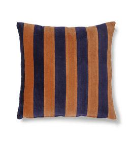HKliving HK Living Striped Cushion Velvet Blue /Orange