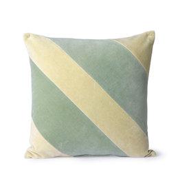 HKliving HKliving Striped Velvet Cushion mint/green