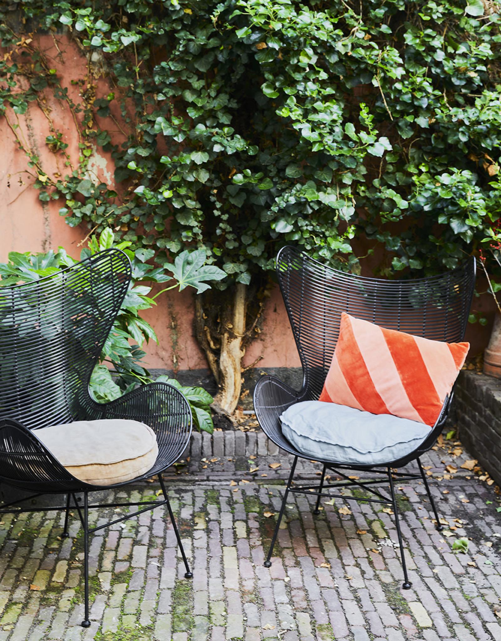 HKliving HK Living Striped Velvet Cushion Red/Pink 40x60cm
