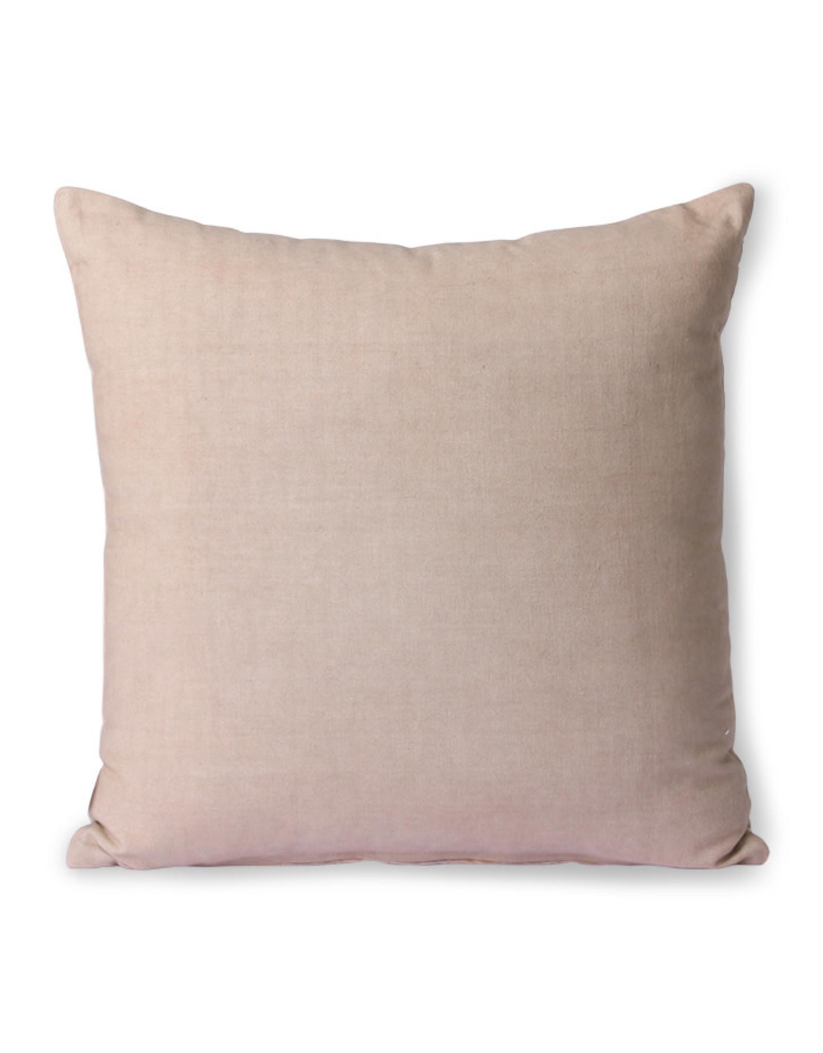 HKliving HK Living Striped Velvet Cushion Beige/Liver 40x40cm