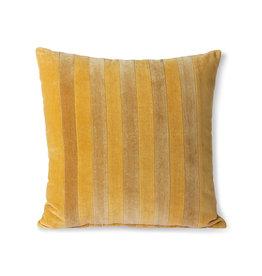 HKliving HK LIving Striped Velvet Cushion Ochre/Gold