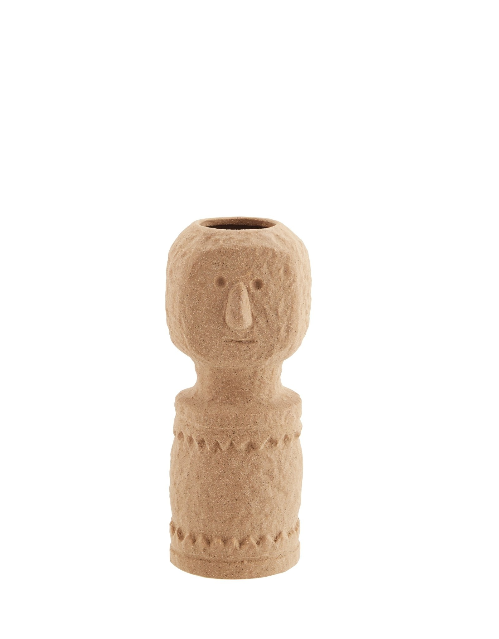 Madam Stoltz Madam Stoltz Stoneware Vase Imprints Matt Indian Tan