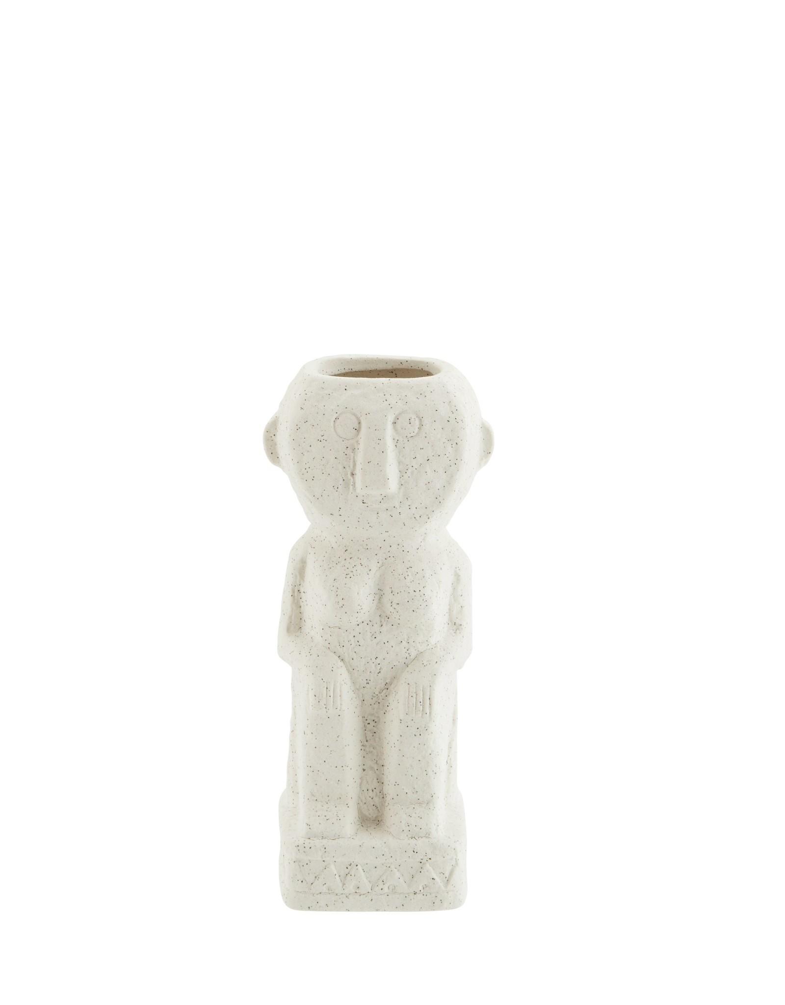 Madam Stoltz Madam Stoltz Stoneware Vase Imprints Matt Off White