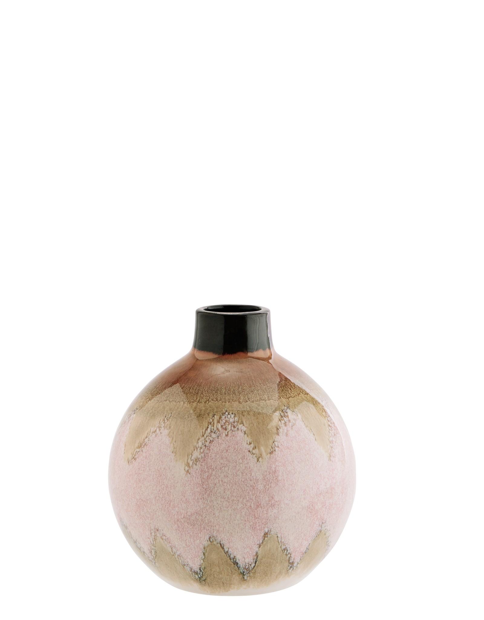 Madam Stoltz Madam Stoltz Round Stoneware Vase Pink
