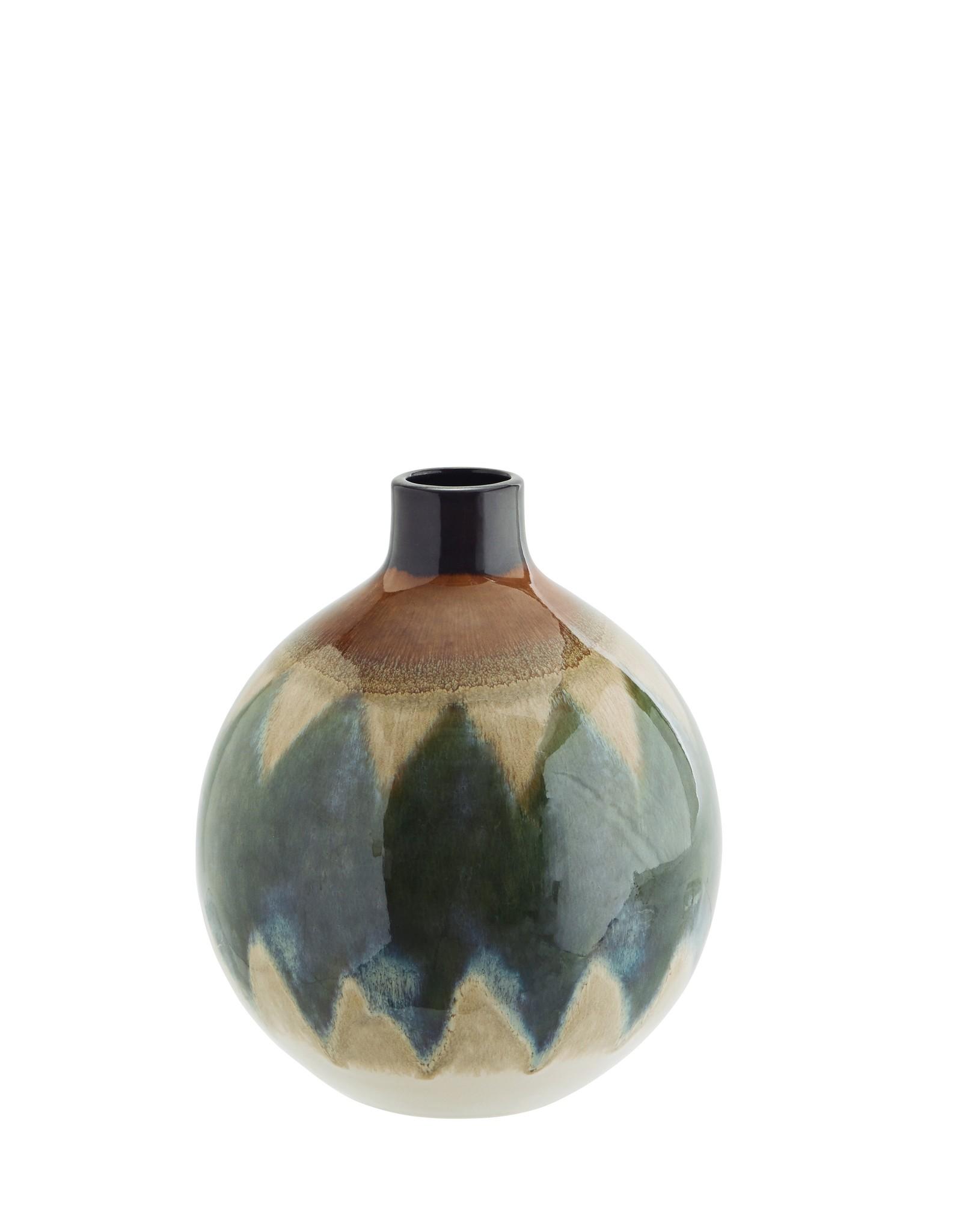 Madam Stoltz Madam Stoltz Stoneware Vase Green klein