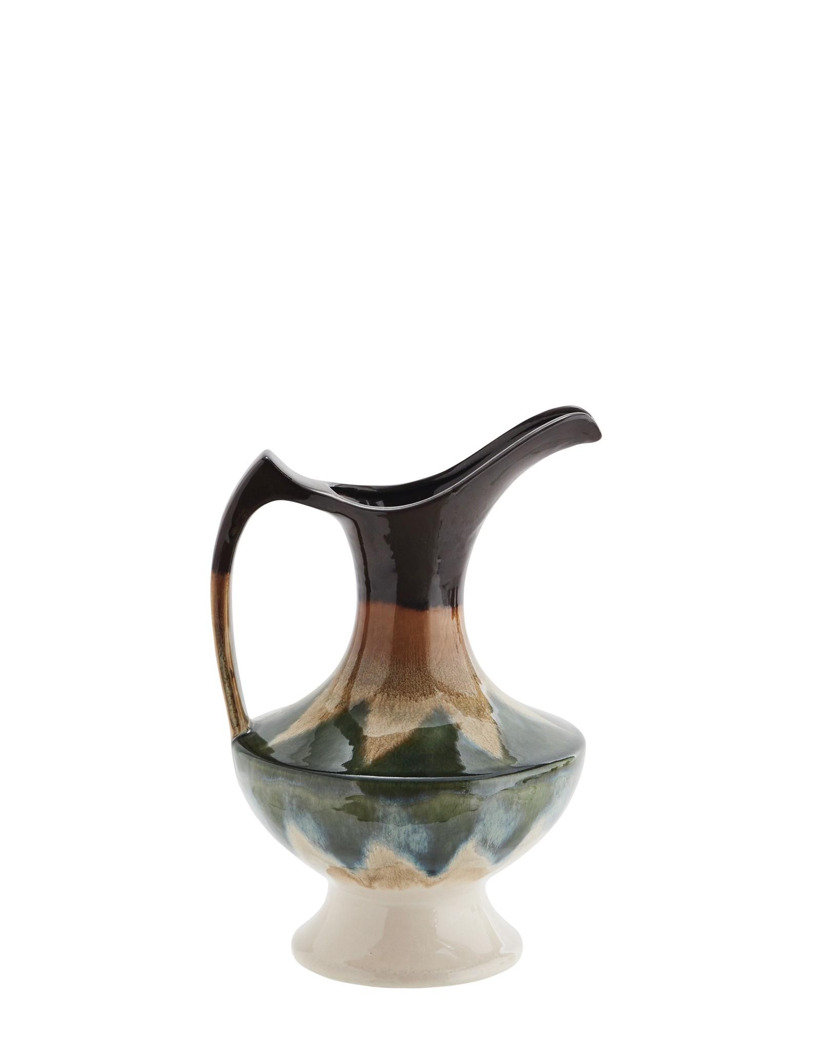 Madam Stoltz Madam Stoltz Stoneware Vase With Handle Green
