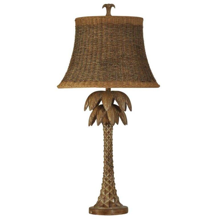 Hand Carved Palm Tree Table Lamp Bonaire Coastal Living