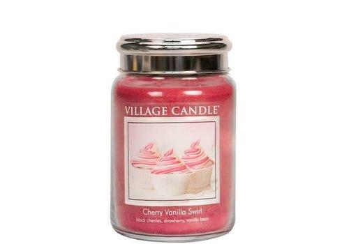 VILLAGE CANDLE LARGE CANDLE - CHERRY VANILLA SWIRL