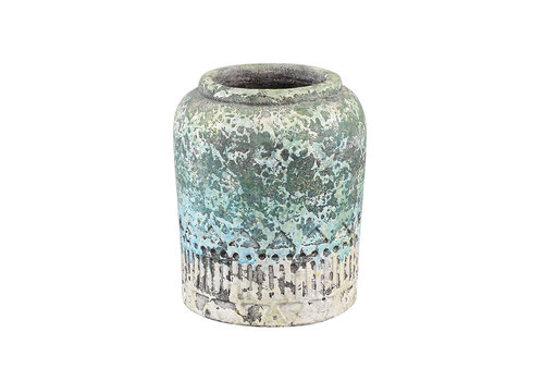 PTMD DIETER TURQUOISE CEMENT DECO FARMER POT XS