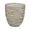 PTMD DAYN GOLD GLASS TEALIGHT RIBBED ROUND S