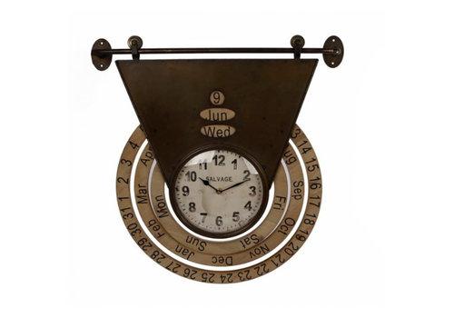 VAN MANEN Klok for date bruin metaal 45x5x60cm