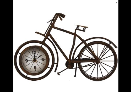 VAN MANEN Klok metaal 'fiets' roest 38,5x7,5x25cm