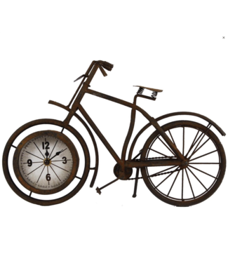 Klok metaal 'fiets' roest 38,5x7,5x25cm