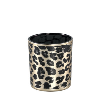 DESIREE GOLD GLASS TEALIGHT CHEETAH PRINT ROUND XS