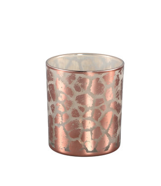 P.T.M.D DESIREE GOLD GLASS TEALIGHT GIRAFFE PRINT ROUND S