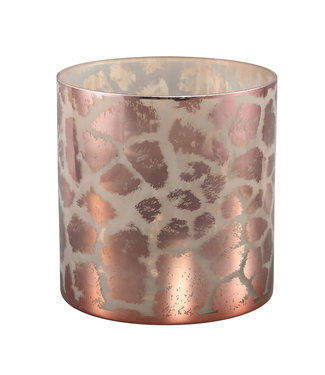P.T.M.D DESIREE GOLD GLASS STORMLIGHT GIRAFFE PRINT ROUND