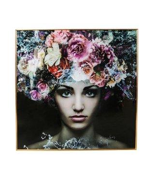 P.T.M.D MELANI GLASS ART WALL PICTURE WOMEN FLOWER SQUARE