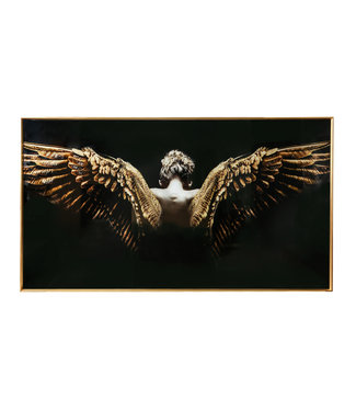 MELANI GLASS ART WALL PICTURE GOLD BLACK ANGEL