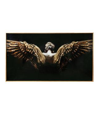 P.T.M.D MELANI GLASS ART WALL PICTURE GOLD BLACK ANGEL