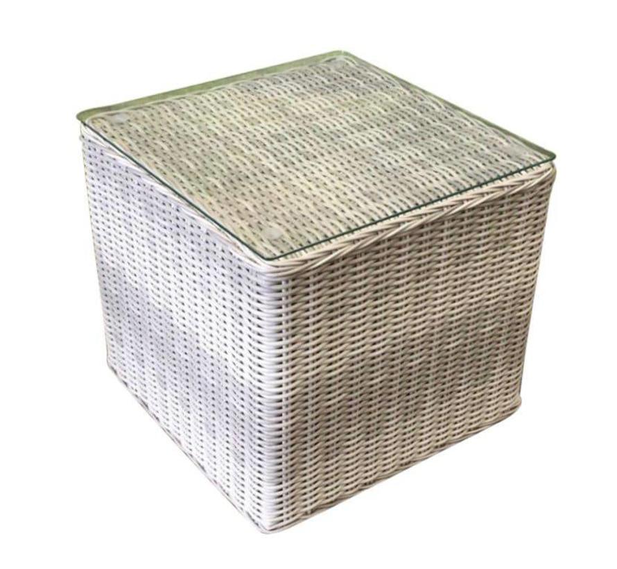 Bijzettafel 50x50xH45 cm wit grijs
