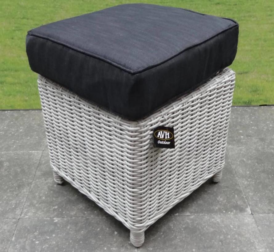 AVH XL voetenbank 40x40xH37 cm wit grijs