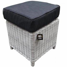 AVH-Collectie Bilbao XL voetenbank 40x40xH37 cm wit grijs