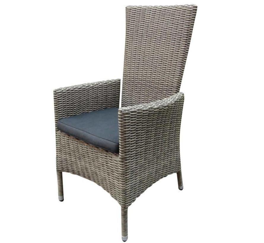 Capri dining tuinstoel verstelbaar grijs
