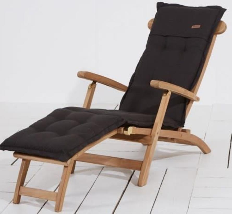 Deckchair kussen 200x50 cm Rib black