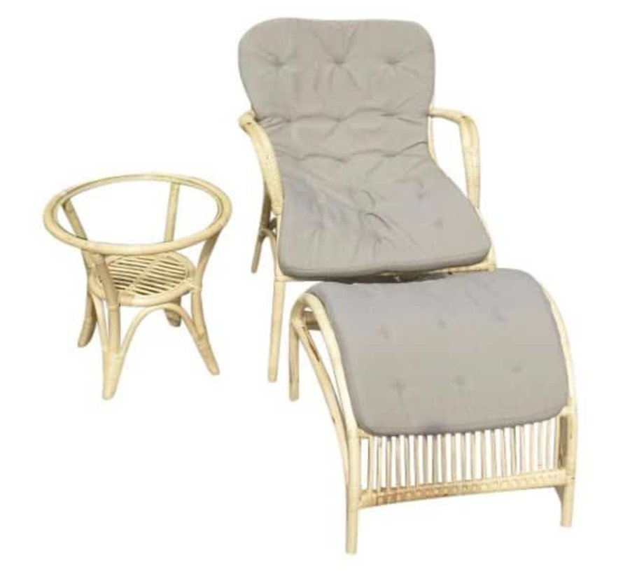 Helena lounge balkon set naturel rotan