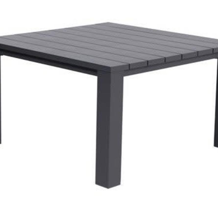 Cube lounge-diningtafel 115x115xH68 cm aluminium antraciet