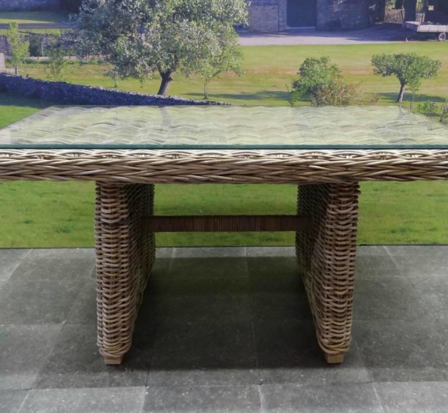Ibiza lounge-dining tafel 146×82xH70 cm naturel rotan met glasplaat.