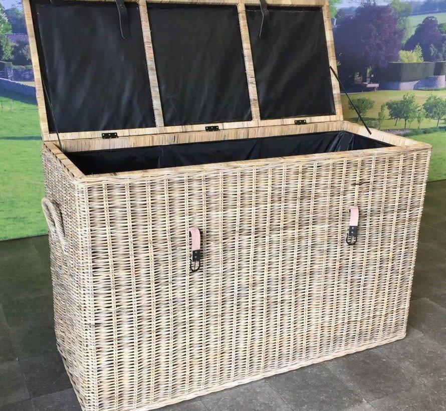Kussenbox groot 167x70xH106 cm naturel rotan