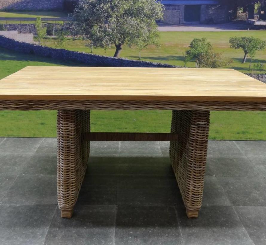 Ibiza lounge-dining tafel 146x82xH70 cm naturel  rotan teak