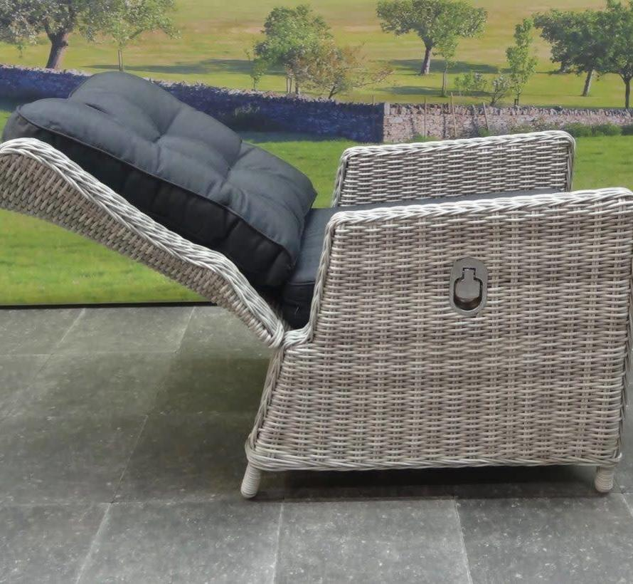 Marina lounge tuinstoel verstelbaar wit grijs