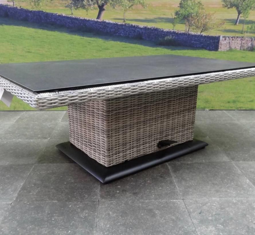 Miami lounge-diningtafel 130x75xH47-71 cm in hoogte verstelbaar wit grijs