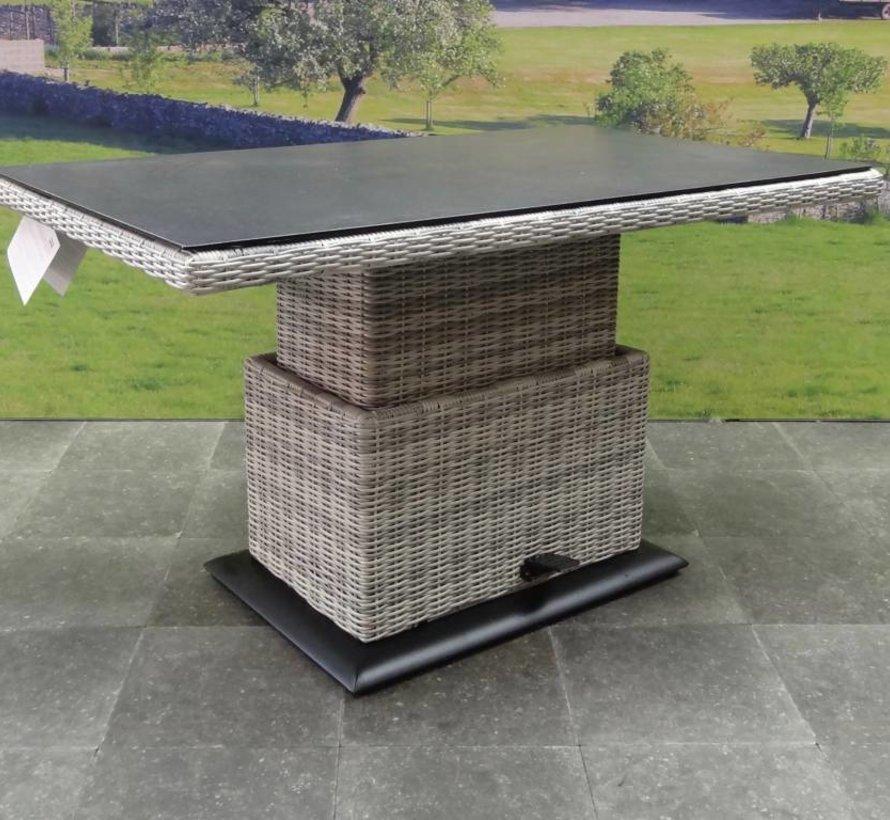 Miami lounge-diningtafel 160x90xH47-71 cm in hoogte verstelbaar grijs