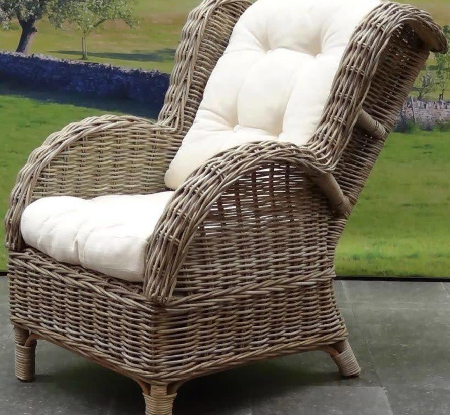Naturel relax lounge tuinstoel wit