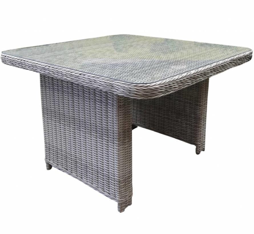 Bilbao lounge-diningtafel 110x110xH70 cm wit grijs