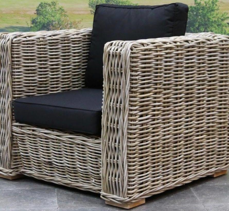 Nissah lounge tuinstoel naturel rotan - suntech black