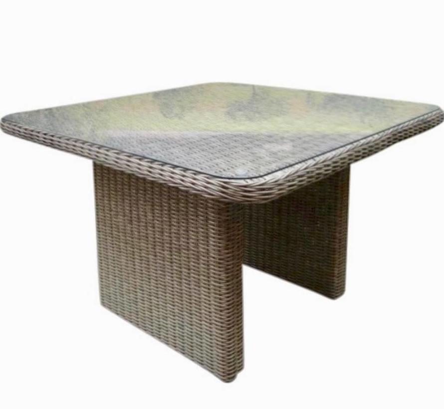 Bilbao XL lounge-diningtafel 110x110xH70 cm grijs