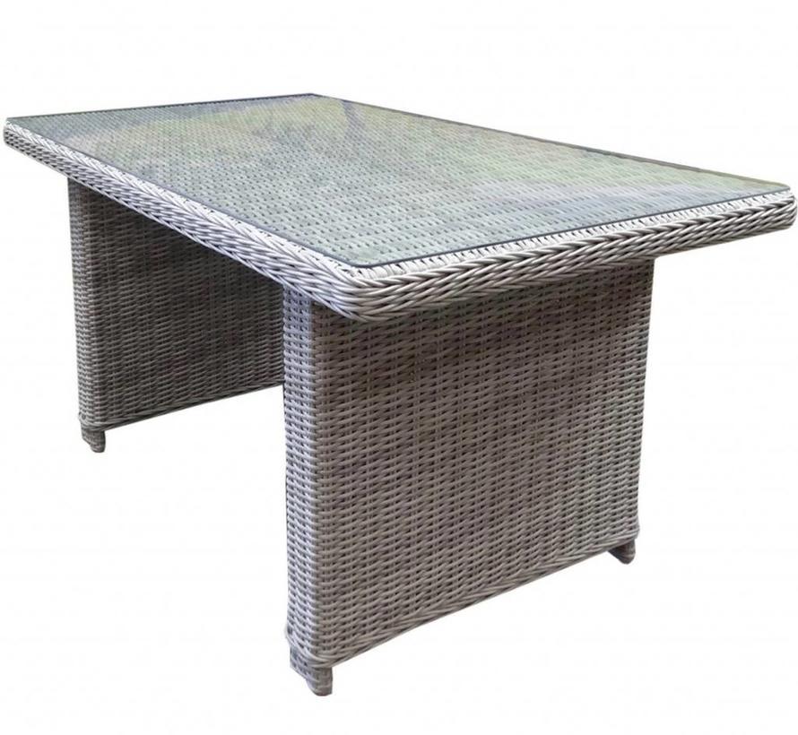Bilbao XL lounge-diningtafel 140x80xH70 cm wit grijs