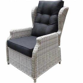 AVH-Collectie Toscane XL lounge tuinstoel verstelbaar wit grijs