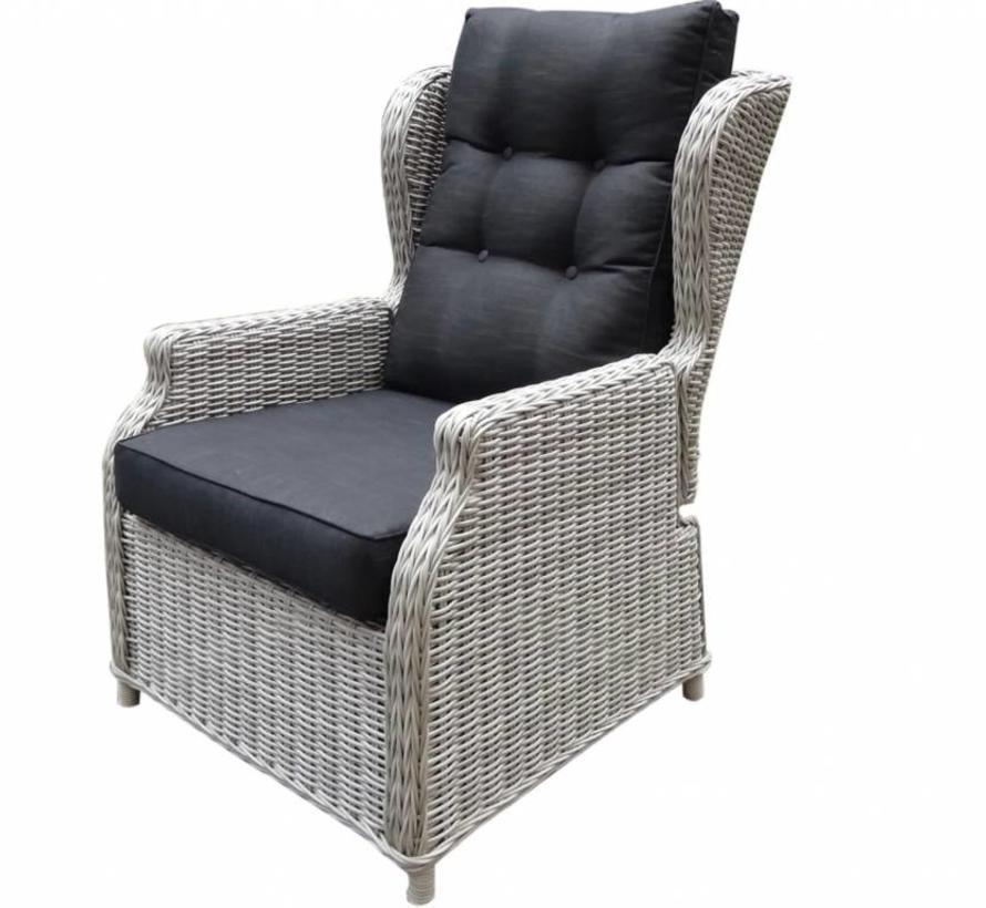 Toscane XL lounge tuinstoel verstelbaar wit grijs