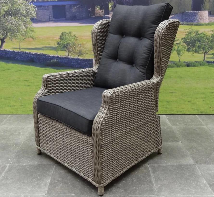 Toscane XL lounge tuinstoel verstelbaar grijs